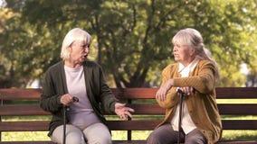 Zwei ältere Damen, die auf Bank im Park, mürrische Älteste, Debatte argumentieren und sitzen stockfotografie
