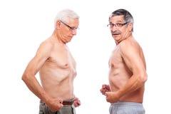 Zwei Ältere, die Abbildung vergleichen Lizenzfreies Stockbild
