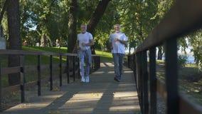 Zwei ältere Freunde, die zusammen Morgenpark, gesunder Lebensstil, Tätigkeit rütteln stock footage
