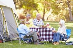 Zwei ältere Paare, die kampierenden Feiertag genießen Stockfotos