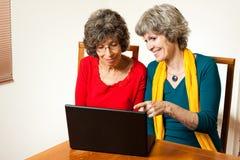 Zwei ältere surfende Damen Stockbild