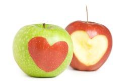 Zwei Äpfel mit Innerem Lizenzfreies Stockfoto