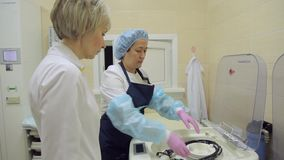 Zwei Ärztinnen betrachten endoskopische Ausrüstung stock video footage