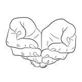Zwei öffnen leere Hände Bitten von Geste Stockfoto