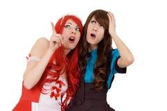 Zwei überraschte Bedienstete Mädchen Stockbilder