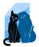 Zwei abstrakte Katzen Stockfotografie