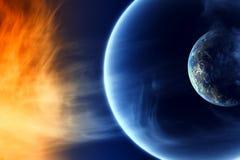 Zwei abstrakte Planeten im Platz lizenzfreie abbildung