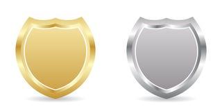 Zwei Abzeichen golden und silbern Stockfotografie