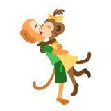 Zwei Affen treffen und umarmen sich Lizenzfreies Stockfoto