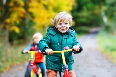 Zwei aktive Bruderjungen, die auf Fahrrädern im Herbstwald laufen Stockfotos
