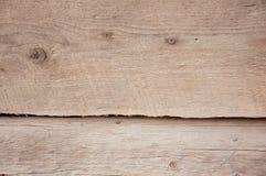 Zwei alte beige hölzerne Planken mit rostiger Nagelnahaufnahme Stockfotos