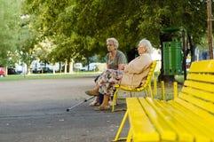 Zwei alte Damen im Park Lizenzfreies Stockbild