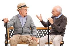 Zwei alte Freunde, die ein Gespräch haben Stockbild