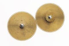 Zwei alte goldene Zahnräder Lizenzfreies Stockfoto