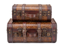 Zwei alte Koffer gestapelt Lizenzfreies Stockbild
