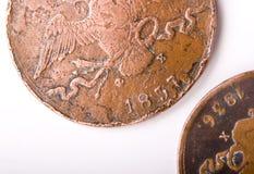 Zwei alte russische Münzen Lizenzfreie Stockfotos