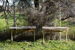 Zwei alte Schreibtische nahe einem Zaun auf einem Garten lizenzfreie stockfotografie
