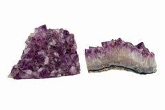 Zwei Amethyst-Kristalle Lizenzfreies Stockfoto