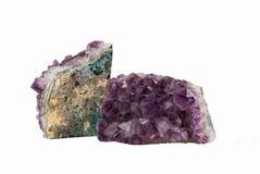 Zwei Amethyst-Kristalle Lizenzfreie Stockfotos