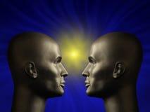 Zwei androide Köpfe, die sich gegenüberstellen Stockbild