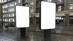 zwei Anschlagtafelmodelle auf Abendstraße vektor abbildung