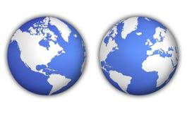 Zwei Ansichten der Weltkugel Stockfotografie