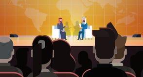 Zwei arabische Geschäftsleute oder Politiker auf Coference oder Debatten-Sitzungs-Interview, die Sit Over World Map In Front Of B vektor abbildung