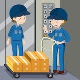 Zwei Arbeitskräfte, die Kästen drücken lizenzfreie abbildung