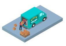 Zwei Arbeitskräfte entladen den Packwagen vektor abbildung