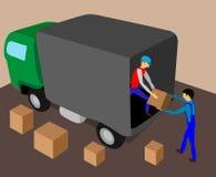 Zwei Arbeitskräfte laden den LKW mit Fracht Lizenzfreie Abbildung