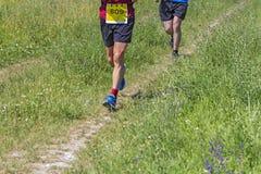 Zwei Athleten, die Marathon laufen lassen stockfoto