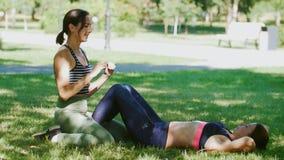 Zwei athletische Mädchen, die Übung auf der Presse auf dem Gras im Park tun stock video footage