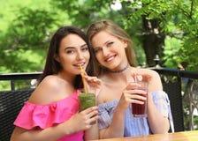 Zwei attraktive Damen, die frischen Smoothie genießen lizenzfreie stockfotos