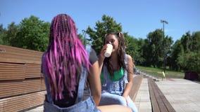 Zwei attraktive Freundinmädchen verständigen sich mit einander eine gute Laune habend, die auf einer Bank im Park sitzt 4K stock video footage