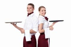 Zwei attraktive Kellner stockbilder