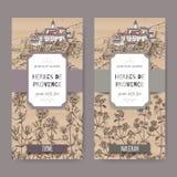 Zwei Aufkleber Herbes Des Provence mit Stadt, Thymian und Majoran Stockfoto