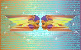 Zwei ausländische Freundinnen, die digitalen Raum betrachten Netter Frauen Karikatur des Vektors Knall Art Colorful Illustration vektor abbildung