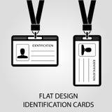 Zwei Ausweiskarte mit einem Fotodurchlauf in der flachen Art Lizenzfreies Stockbild