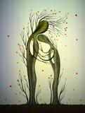 Zwei Bäume in den Liebesaussehung wie Mann und Frau, Baumumarmung, Familienkonzept, älter zusammen werden, Herbstbaumgefühle, stock abbildung