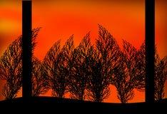 Zwei Bäume und Büsche in einem Sonnenuntergang vektor abbildung