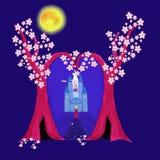 Zwei Bäume und ein Schloss Stockfoto