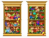 Zwei Bücherschränke gefüllt mit Geschenken vektor abbildung