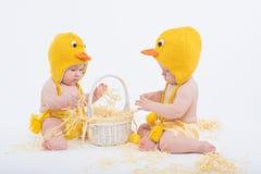 Zwei Babys in den Hühnerkostümen mit weißem Korb Lizenzfreie Stockfotos