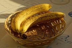 Zwei Bananen im Korb lizenzfreie stockfotografie