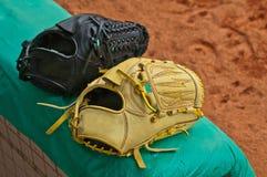 Zwei Baseballhandschuhe Stockbild