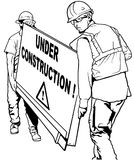 Zwei Bauarbeiter, die hölzernes Brett tragen vektor abbildung