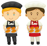 Zwei Bäcker mit frischem gebackenem Brot Stockfotografie