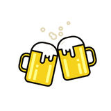 Zwei Becher Bier Auch im corel abgehobenen Betrag Flache Linie Design Lizenzfreies Stockfoto