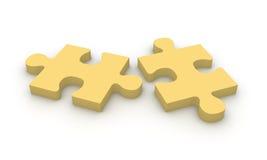 Zwei beige Puzzlespielstücke Lizenzfreies Stockbild