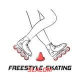Zwei Beine Rolle mit den Inline-Rochen, welche die Zahl des Freistilslaloms eislaufend und Titel Freistil-Slalom-Eislauf tun Lizenzfreie Stockbilder